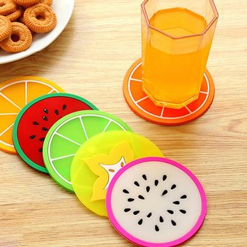 New 6Pcs/Set Colorful Silicone Fruit Coaster Drink Holder Placemat Pad