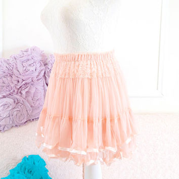 Romantic baby pink coral lace skirt tutu tulle pleated mini skirt victorian smocked waist tube top babydoll