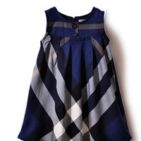 Girl's UK Summer Cotton Plaid Dress