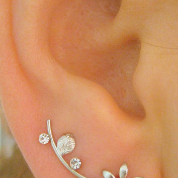 Ear Sweep Wrap - Cuff Earring Ear Climber with Swarovsky - Silver Plated Flower & Leaf