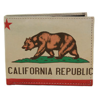 California Republic Bear Flag Bifold Leather Wallet