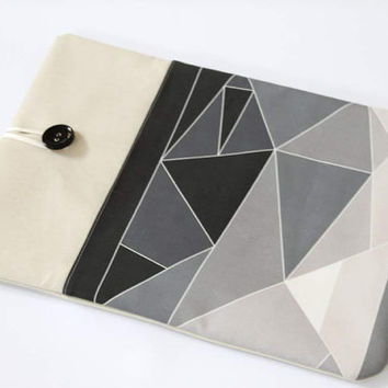 Macbook Pro 15 in case, Laptop Sleeve, Macbook Pro case 13 in, front pocket, grey laptop case, custom laptop cover 15.6 in, geometry