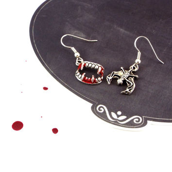 Vampire Bloody Fang & Bat Mismatched Earrings, Silver Tone, Gothic Jewelry