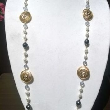 "Beautiful 44"" Designer Inspired Pearl & Crystal Necklace Set"
