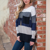 Color Block Pocket Sweater, Navy-Black