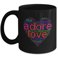 Love Words in Colorful Heart-Shaped Word Cloud   Romantic Gifts For Him Her   Black Mugs
