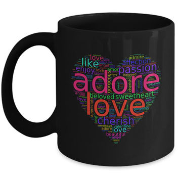 Love Words in Colorful Heart-Shaped Word Cloud | Romantic Gifts For Him Her | Black Mugs