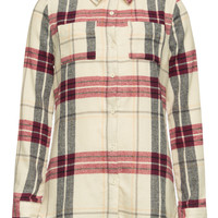 Full Tilt Plaid Tunic Girls Flannel Shirt Cream Combo  In Sizes