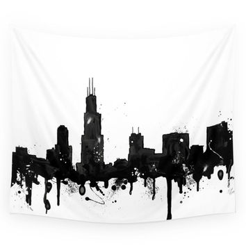 Society6 Watercolor Chicago Skyline Wall Tapestry
