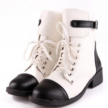 Two-Tone Round-Toe Lace-up Chunky Heel Martin Boots