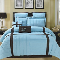 12pc Broadway Luxury Bed Set in Blue/ Chocolate