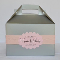Colorful Hotel Welcome Boxes with Personalized Labels