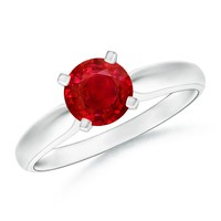 Solitaire Ruby Tapered Shank Ring