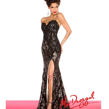 Mac Duggal - Black Floral Lace & Sequin Embellished Prom Gown
