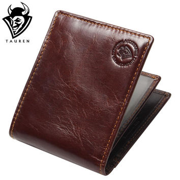 New Genuine Leather Men's Wallets Male Bifold Purse Small Dollar Wallet Cowhide Bifold Purse Card Holders