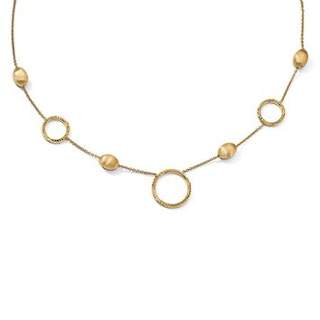 14k Yellow Gold Circle & Bead Station Necklace, 17 Inch