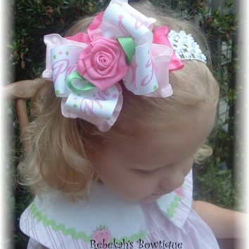 Princess Crown Rose Double Ruffle Hair Bow Headband or Clip Barrette Easter Spring Infant Toddler Girls Portrait Pink Flower