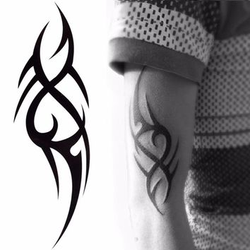 2016 Hot Black Temporary Tattoo Body Art Tattoos 3D Waterproof Temporary Tattoos Sticker Art Men Arm Leg Fake Tatoo Paper
