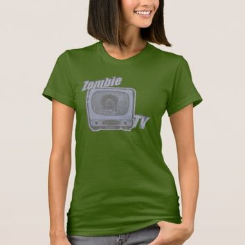 Zombie Retro TV- Blue T-Shirt