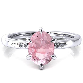 Maise Oval Pink Sapphire 6 Prong Diamond Accent Engagement Ring