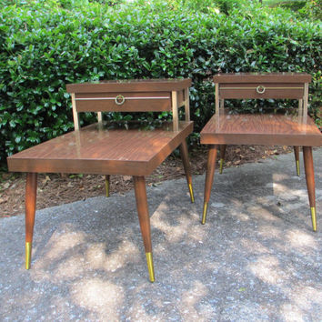 Mid Century Modern Side Tables - Atomic Two Tiered End Tables