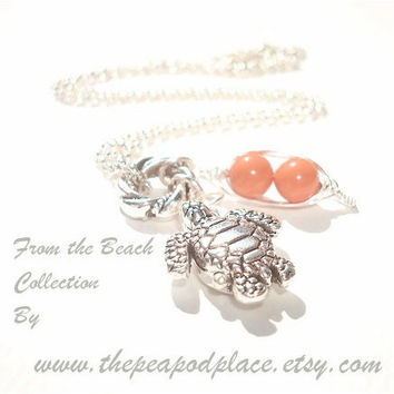 Turtle charm necklace with 2 peas in a pod pick your colors - best friends - sweet pea - beach jewelry
