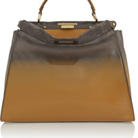 Fendi - Peekaboo large dégradé patent-leather and suede tote