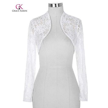 Belle  Lace Bolero wedding Long Sleeves Elegant Jacket Wedding Accessories Cropped Wrap Shrug Women Plus Size Bolero