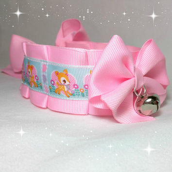 Hummingmint DDlg/Kitten Play/BDSM/Cosplay Collar Pink Kawaii Dear By Kitten's Castle