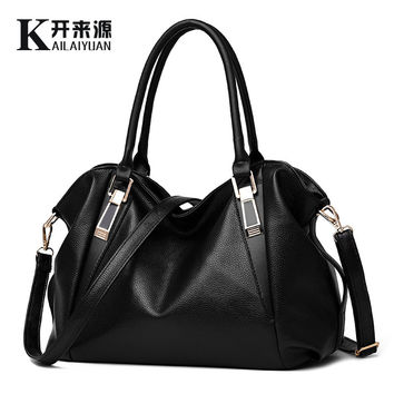 Women Handbags 2016 Women Bags PU Leather Soft Handbags Brand Women Shoulder Bags Black