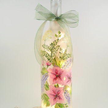 Pink Azalea Purple Wisteria Lighted Wine Bottle Hand Painted 750 ml