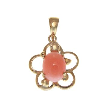 GENUINE NATURAL PINK CORAL 14K YELLOW GOLD HAWAIIAN TURTLE PLUMERIA PENDANT