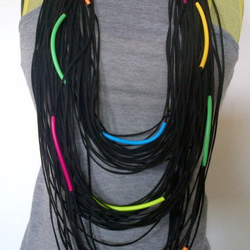 Infinity necklace , black suede and pvc tubes in neon colours, free shipping