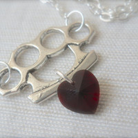 """Love and War Knuckles Heart Charm necklace 18"""" silver plated chain Blood red Fight punch punk trendy gothic swarovski crystal pendant"""