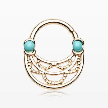 Golden Tribal Lacey Turquoise Septum Twist Loop Ring