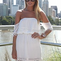 SHORT SLEEVE CROCHET OFF THE SHOULDER DRESS , DRESSES,,Minis,Strapless Australia, Queensland, Brisbane