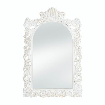 Wooden Grand Distressed White Wall Mirror