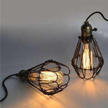 110-250v Art Deco Vintage Industrial Antique Metal Cage Pendant Light
