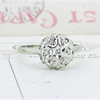 Vintage Diamond Cluster Ring   Dainty White Gold Ring   Diamond Starburst Ring   1970s Cocktail Ring   Vintage Engagement Ring   Size 7.75
