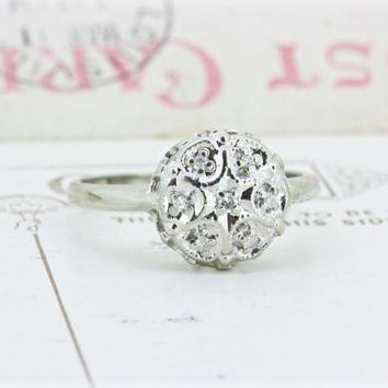 Vintage Diamond Cluster Ring | Dainty White Gold Ring | Diamond Starburst Ring | 1970s Cocktail Ring | Vintage Engagement Ring | Size 7.75