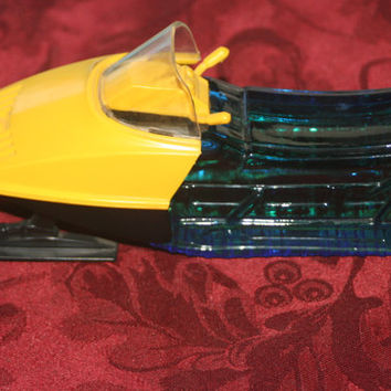 Vintage Blue Glass Snowmobile Decanter,Vintage Avon,Oland Aftershave Full Bottle