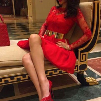 Red Lace Gold Belt Homecoming Dress ,Long Sleeve Appliques Homecoming Dresses