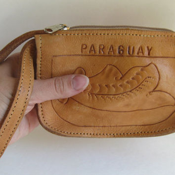 Vintage Brown LEATHER Hand Tooled Clutch, Purse Zip Bag Clutch, Paraguay Floral