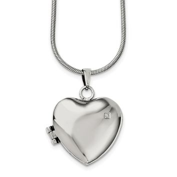 Stainless Steel Polished Heart with CZ Magnetic Locket Necklace 20in