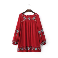 Tie Neck Back Embroidered Long Sleeve Dress