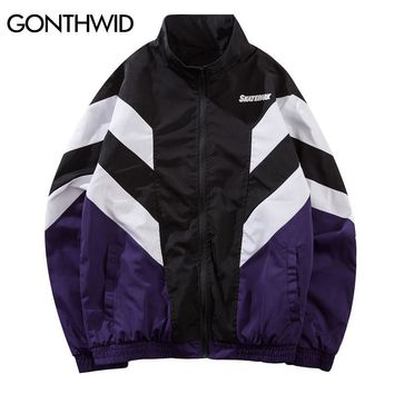 Trendy GONTHWID Vintage Color Block Patchwork Windbreaker Track Jackets 2018 Autumn Hip Hop Causal Streetwear Fashion Full Zip Up Coats AT_94_13