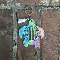 Lilly Pulitzer Inspired Turtle Keychain, Monogram Turtle Keychain, Acrylic Keychain, Turtle Keychain