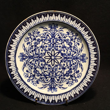 Flow Blue Teutonic Pattern Hand Painted Brown, Westhead, Moore & Co Transfer Plate