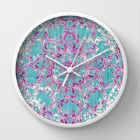 Reinventing A Taste of Lilac Wine Wall Clock by Octavia Soldani | Society6