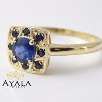 14K Yellow Gold Sapphire Engagement Ring Genuine Blue Sapphire Ring Genuine